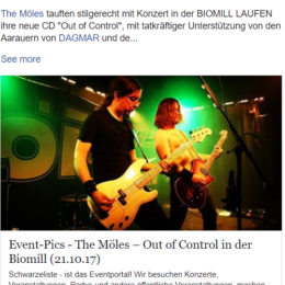 "Live Review & Fotos: ""The Möles – Out of Control in der Biomill (21.10.17)"" (Schwarzeliste.ch)"